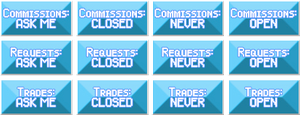 Blue commission / request / trade buttons by FrozenNote