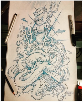 HOT STUFF MERMAN KING OF THE SEA TATTOO CONCEPT by BROWN73