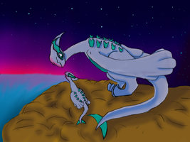 Light Lugia and its baby by katehedgehog