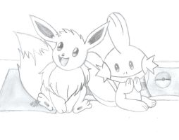 eevee and mudkip by khfanT