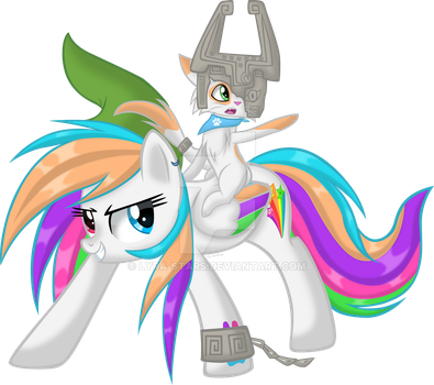 Starblaze and Toby Aventuring (Or Link and Midna?) by LyraKitty