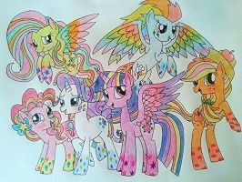 Rainbow Power Mane 6 by FlutterSquee6