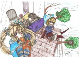 Asuka rest time with Alice and Elliot by AmieeSha96