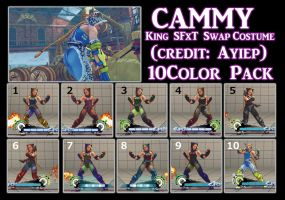 Cammy King SFxT Swap Costume 10colorPack by YUKARIN2012
