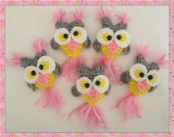 Crocheted Owl Milk Cap Cutie Magnets by peggytoes