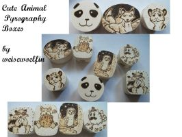 Cute Animal Pyrography Boxes by weisewoelfin