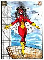 Spider-Woman Over Albany by SirDNA109
