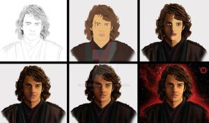 Anakin Skywalker portrait STEP BY STEP by hisui1986