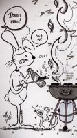 Psycho Bunny Attempts To BBQ by MicheleWitchipoo