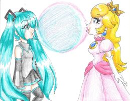 Peach and Miku's Bubblegum by LilacPhoenix