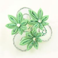 Green maple and whirlpool kanzashi by Arleen