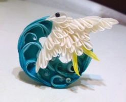 Chidori and ocean waves kanzashi by EruwaedhielElleth