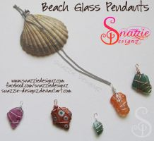 Sea Glass / Beach Glass Pendants by snazzie-designz