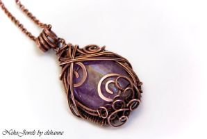 Amethyst and copper elven necklace Harunir by Elehanne