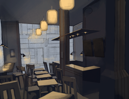 Cafe: afternoon rain by Zilly-The-Jellyfish