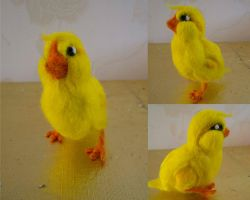 Baby chick needle felt by Turtle-Duck