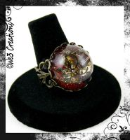 Shimmery Red Steam Punk Resin Ring by kelleejm1