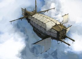 Medival-Styled Airship by psychepool