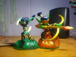 Skylanders: Flame and stealth toys by crazedperson