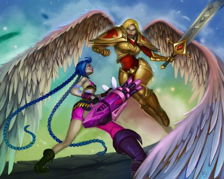 Secret Santa: Kayle v. Jinx by teriopi