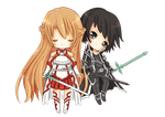 [ fan art ] Kirito + Asuna - Sword Art Online by stephie-boo