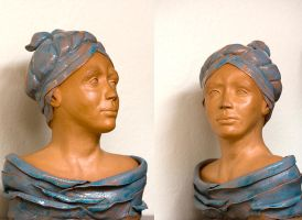 Lady with blue scarf by SarahharaS1