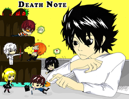 Death Note: L and his chibis by Kawaii-Heart