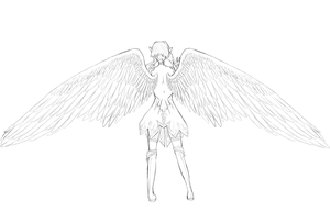 Fallen Angel LineArt:hugefile: by RenaInnocenti