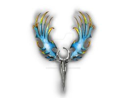 Colorful wings and symbol by artfullycreative