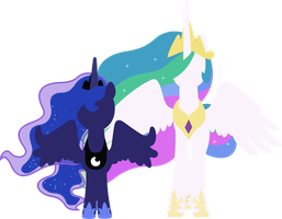 Princess Luna and Princess Celestia by sumw1
