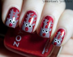 Rudolph nails by SamariumsSwatches