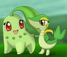 Chikorita and Snivy by SirNorm