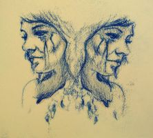 Monoprint and pencil by bronart