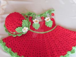 Handmade Girl Crochet Dress and Hat Set by MagicalString