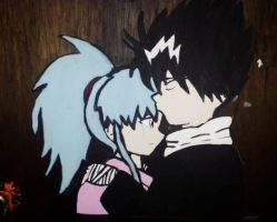 Hiei and Botan Door Painting by TaniPixie