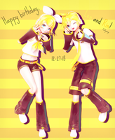 .:Happy birthday, Kagamine!:. by Puffywings