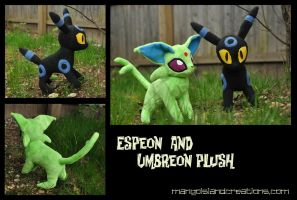 Shiny Espeon and Umbreon Plush by MangoIsland