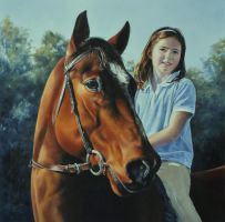 Tabby and Teddy - Oil Painting by AstridBruning