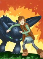 Toothless and Hiccup by CecilleHarris