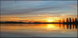 Golden Panorama Sunset by Betuwefotograaf