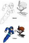Sketch and Colour: Megaman X And Meloetta by SpriteGirl