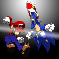 Mario VS Sonic by Nicolitch