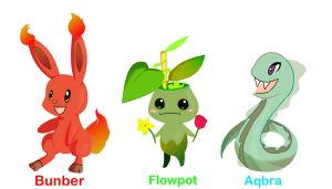 Request: Fakemon Starters of Ask-Redfoot by Wabatte-Meru