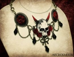 White Demon Skull Choker by Necrosarium