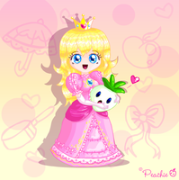 Princess Peach w. Veggie by Princess-Peachie