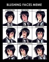Blushing Faces Meme: Sebastian by claudiakat