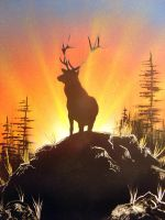 Spray Paint Art-Sunrise Buck by paulwk