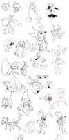 Fakemon sketches Order Chaos that I never finished by Deco-kun