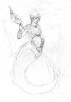 Sketch- Mermaid Warrior by DigitalCrest