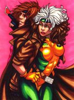 Rogue and Gambit by Eiluvision
